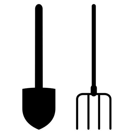 cultivator: Pitchfork And Shovel Tools raster icon. Flat black symbol. Pictogram is isolated on a white background. Designed for web and software interfaces.