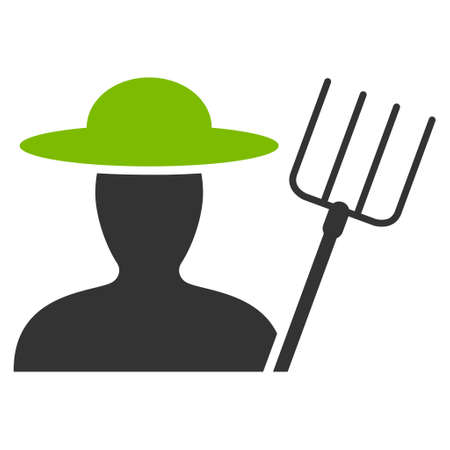 agronomist: Farmer With Pitchfork vector icon. Flat bicolor eco green and gray symbol. Pictogram is isolated on a white background. Designed for web and software interfaces. Illustration