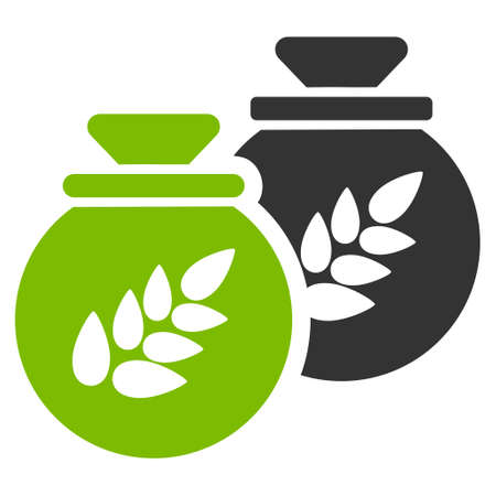Grain Harvest Sacks vector icon. Flat bicolor eco green and gray symbol. Pictogram is isolated on a white background. Designed for web and software interfaces.