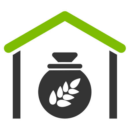 Grain Storage vector icon. Flat bicolor eco green and gray symbol. Pictogram is isolated on a white background. Designed for web and software interfaces. Illustration