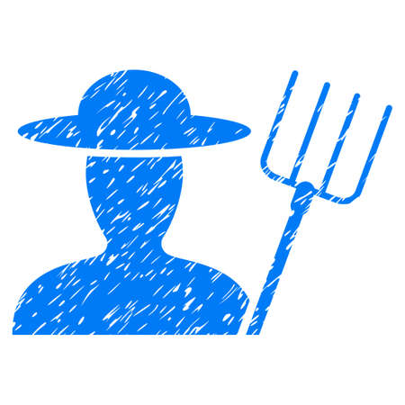 Grunge Farmer With Pitchfork rubber seal stamp watermark. Icon symbol with grunge design and dust texture. Unclean raster blue sign.