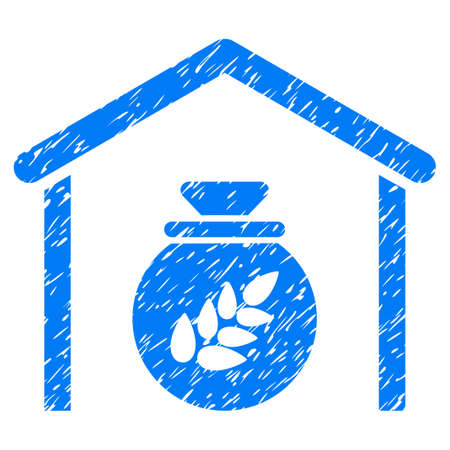 soy: Grunge Grain Storage rubber seal stamp watermark. Icon symbol with grunge design and unclean texture. Unclean vector blue emblem.