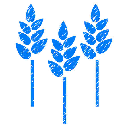celiac: Grunge Wheat Ears rubber seal stamp watermark. Icon symbol with grunge design and scratched texture. Unclean vector blue emblem.