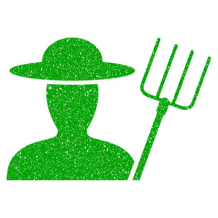 agronomist: Grunge Farmer With Pitchfork rubber seal stamp watermark. Icon symbol with grunge design and dirty texture. Unclean raster green sign. Stock Photo