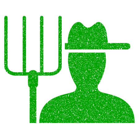Grunge Farmer With Pitchfork rubber seal stamp watermark. Icon symbol with grunge design and dirty texture. Unclean vector green sticker. Illustration