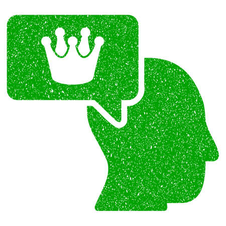 aristocracy: Grunge Person Dream Crown rubber seal stamp watermark. Icon symbol with grunge design and dust texture. Unclean vector green sticker. Illustration