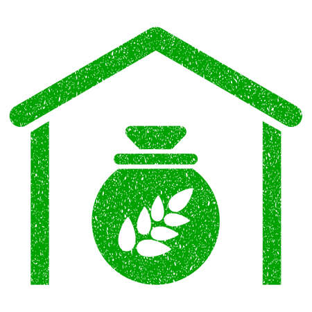 storehouse: Grunge Grain Storage rubber seal stamp watermark. Icon symbol with grunge design and unclean texture. Unclean raster green emblem. Stock Photo