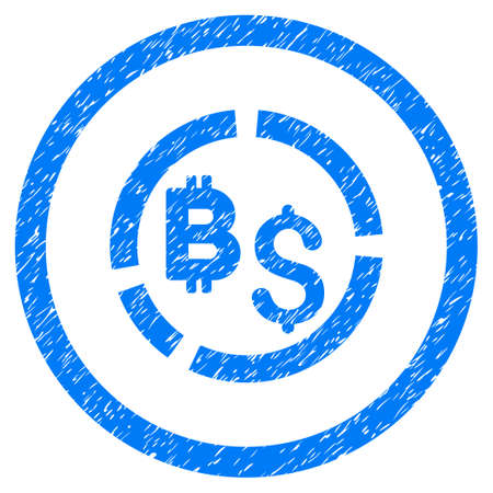 Bitcoin Financial Diagram grainy textured icon inside circle for overlay watermark stamps. Flat symbol with dirty texture. Circled raster blue rubber seal stamp with grunge design. Stock Photo