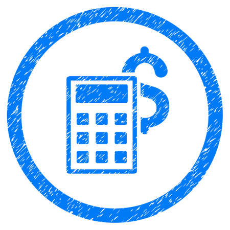 Business Calculator grainy textured icon inside circle for overlay watermark stamps. Flat symbol with unclean texture. Circled raster blue rubber seal stamp with grunge design.