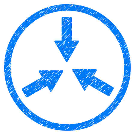 compress: Collide Arrows grainy textured icon inside circle for overlay watermark stamps. Flat symbol with dust texture.