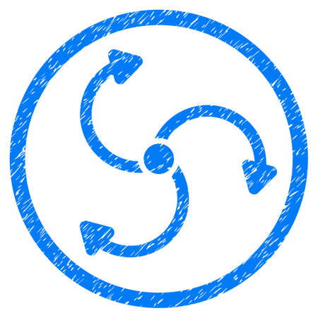 quark: Fan Rotation grainy textured icon inside circle for overlay watermark stamps. Flat symbol with dust texture. Circled dotted vector blue ink rubber seal stamp with grunge design on a white background. Illustration