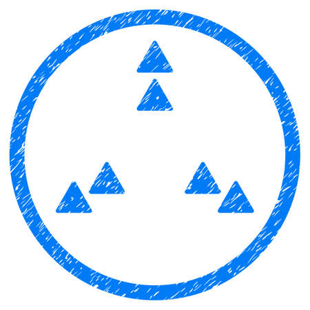 Move Out grainy textured icon inside circle for overlay watermark stamps. Flat symbol with dust texture. Circled dotted vector blue ink rubber seal stamp with grunge design on a white background. Illustration
