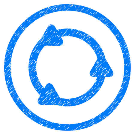 Rotate grainy textured icon inside circle for overlay watermark stamps. Flat symbol with unclean texture. Circled dotted vector blue ink rubber seal stamp with grunge design on a white background.