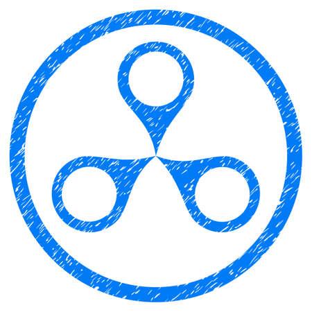 Carte Marqueurs granuleuse icône texturée à l'intérieur du cercle pour les timbres de filigrane de superposition. Symbole plat avec une texture sale. Cerclé en pointillés vecteur bleu encre caoutchouc joint timbre avec un design grunge sur un fond blanc.