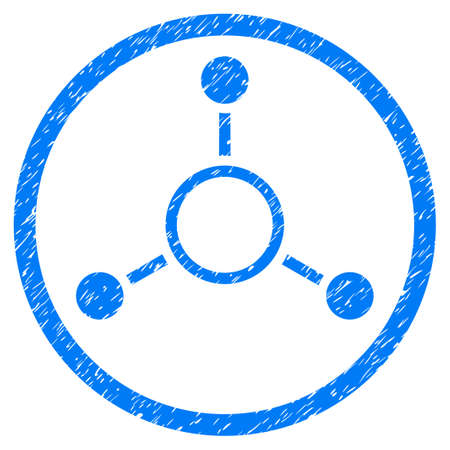 quark: Radial Structure grainy textured icon inside circle for overlay watermark stamps. Flat symbol with dust texture.