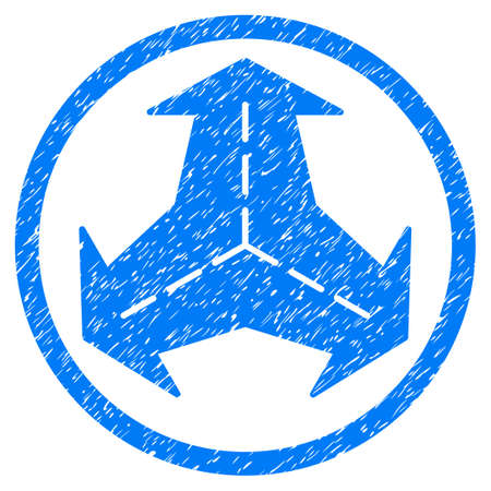 Intersection Directions grainy textured icon inside circle for overlay watermark stamps. Flat symbol with dust texture.