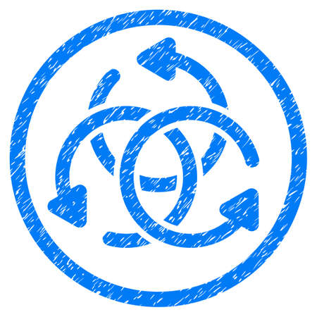 Knot Rotation grainy textured icon inside circle for overlay watermark stamps. Flat symbol with dust texture. Circled dotted raster blue ink rubber seal stamp with grunge design on a white background.