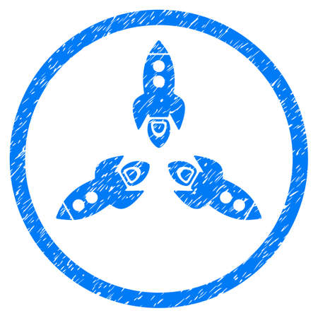 Rockets grainy textured icon inside circle for overlay watermark stamps. Flat symbol with scratched texture. Circled dotted raster blue ink rubber seal stamp with grunge design on a white background.