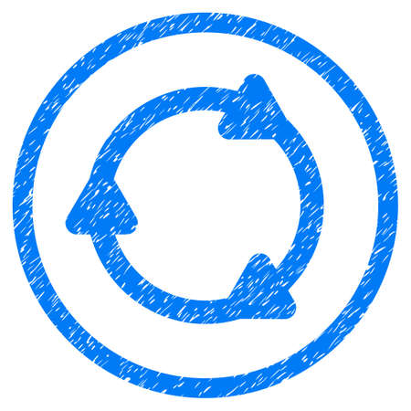 Rotate Back grainy textured icon inside circle for overlay watermark stamps. Flat symbol with scratched texture.