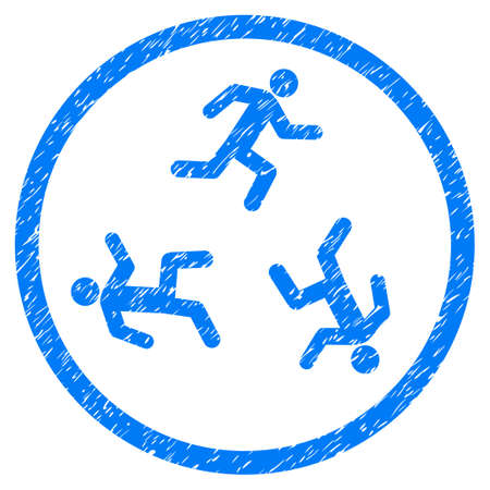 Running Men grainy textured icon inside circle for overlay watermark stamps. Flat symbol with dirty texture. Circled dotted raster blue ink rubber seal stamp with grunge design on a white background. Stock Photo