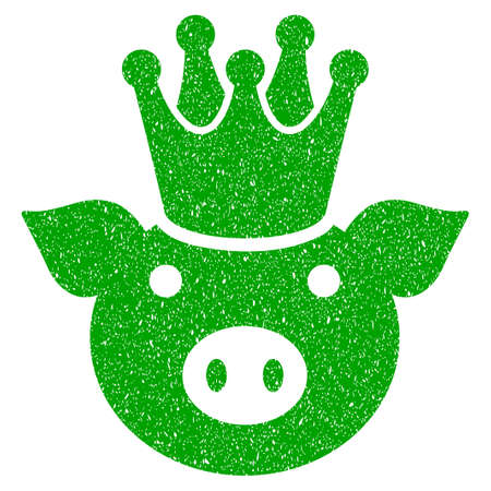 Grunge King Pig rubber seal stamp watermark. Icon symbol with grunge design and unclean texture. Unclean vector green sign.