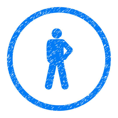 Audacity Person Pose grainy textured icon inside circle for overlay watermark stamps. Flat symbol with unclean texture. Stock Photo