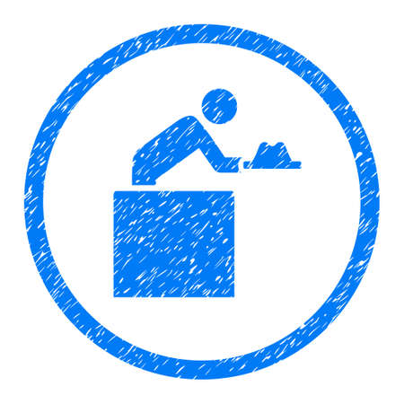 Cloakroom Attendant grainy textured icon inside circle for overlay watermark stamps. Flat symbol with dirty texture. Stock Photo