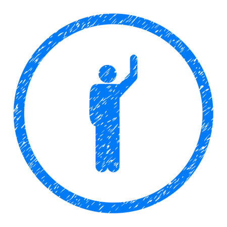 Hitchhike Person grainy textured icon inside circle for overlay watermark stamps. Flat symbol with unclean texture.