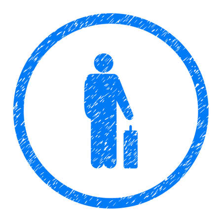 Passenger grainy textured icon inside circle for overlay watermark stamps. Flat symbol with dirty texture. Circled dotted raster blue ink rubber seal stamp with grunge design on a white background.