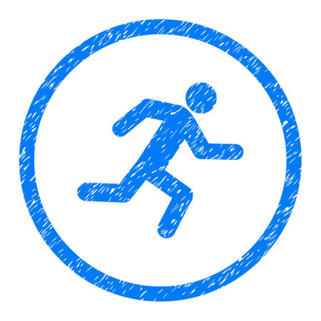 Running Man grainy textured icon inside circle for overlay watermark stamps. Flat symbol with dust texture. Circled dotted raster blue ink rubber seal stamp with grunge design on a white background.
