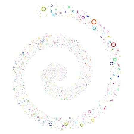 Confetti Stars hypnotic whirl spiral. Raster bright multicolored random symbols.