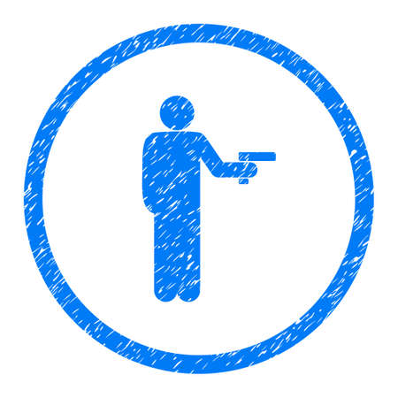 Weaponed Person grainy textured icon inside circle for overlay watermark stamps. Flat symbol with scratched texture.