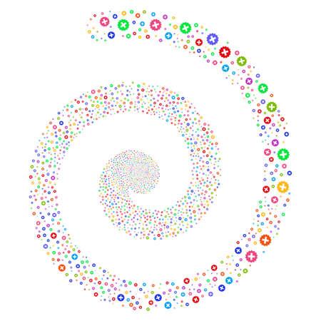 Create salute whirl spiral. Raster bright multicolored random symbols.
