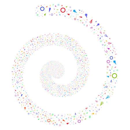 Confetti Stars festival swirl spiral. Raster bright multicolored scattered design elements.