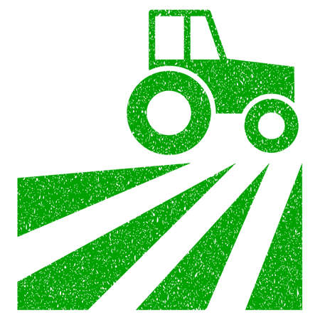 Grunge Farm Field With Tractor rubber seal stamp watermark. Icon symbol with grunge design and scratched texture. Unclean vector green sticker.