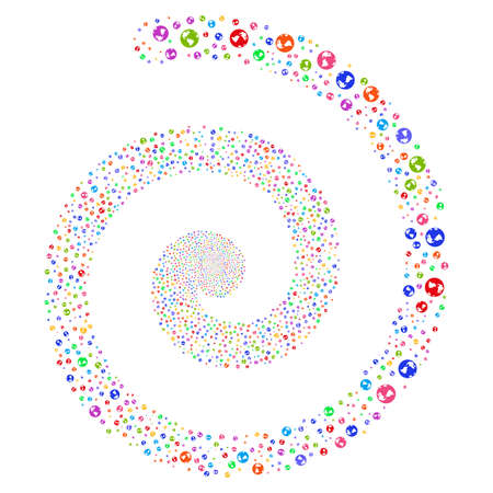 web portal: Earth fireworks whirl spiral. Raster bright multicolored scattered pictograms. Stock Photo