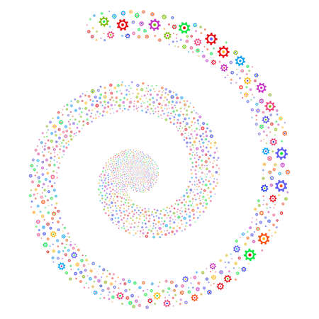 Gear festival whirl spiral. Raster bright multicolored scattered symbols. Stock Photo