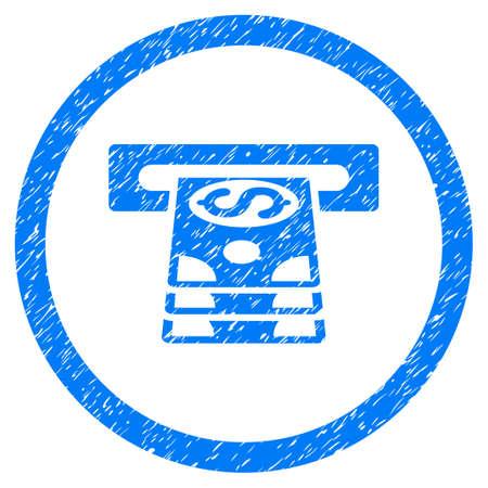 automatic transaction machine: Icono con textura granulada de Bank Cashpoint dentro del círculo para sellos de marca de agua de superposición. Símbolo plano con textura sucia. Sello de sello de goma azul trama en círculos con diseño de grunge. Foto de archivo