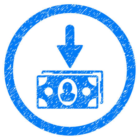 Icône de texture granuleuse de revenu de billets à l'intérieur du cercle pour les timbres de filigrane de superposition. Symbole plat avec texture de la poussière. Timbre de joint en caoutchouc bleu raster cerclé avec un design grunge.