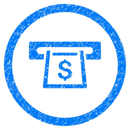 Cashout Slot grainy textured icon inside circle for overlay watermark stamps. Flat symbol with scratched texture. Circled raster blue rubber seal stamp with grunge design.