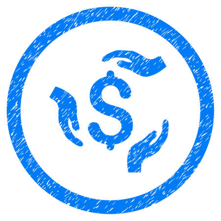 Dollar Care Hands grainy textured icon inside circle for overlay watermark stamps. Flat symbol with unclean texture. Circled raster blue rubber seal stamp with grunge design.