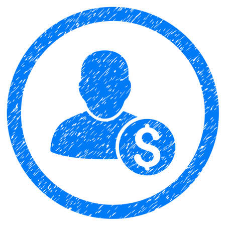 moneymaker: Businessman grainy textured icon inside circle for overlay watermark stamps. Flat symbol with dirty texture. Circled raster blue rubber seal stamp with grunge design. Stock Photo