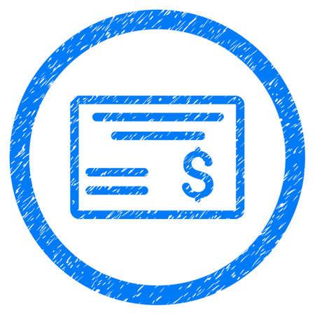 chequera: Dólar Compruebe el icono con textura granulada dentro del círculo para sellos de marca de agua de superposición. Símbolo plano con textura rayada. Sello de sello de caucho azul ráster circulares con diseño de grunge.