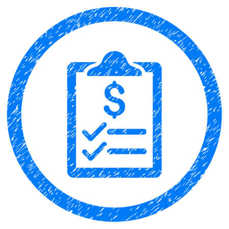Invoice Pad grainy textured icon inside circle for overlay watermark stamps. Flat symbol with dust texture. Circled raster blue rubber seal stamp with grunge design.