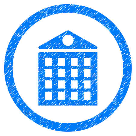 Multi-Storey House grainy textured icon inside circle for overlay watermark stamps. Flat symbol with unclean texture. Circled raster blue rubber seal stamp with grunge design.