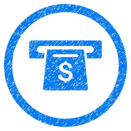 Payment Slot grainy textured icon inside circle for overlay watermark stamps. Flat symbol with dust texture. Circled raster blue rubber seal stamp with grunge design.