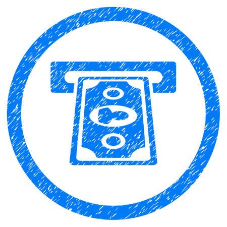 automatic transaction machine: Terminal de pago Icono de textura granulada dentro del círculo para sellos de marca de agua de superposición. Símbolo plano con textura sucia. Sello de sello de caucho azul ráster circulares con diseño de grunge. Foto de archivo