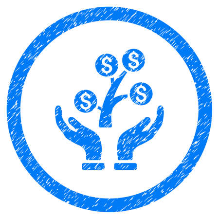 Money Tree Care Hands grainy textured icon inside circle for overlay watermark stamps. Flat symbol with dust texture. Circled raster blue rubber seal stamp with grunge design.