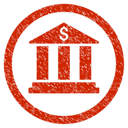 Bank Building grainy textured icon inside circle for overlay watermark stamps. Flat symbol with dirty texture. Circled dotted raster red ink rubber seal stamp with grunge design on a white background. Stock Photo