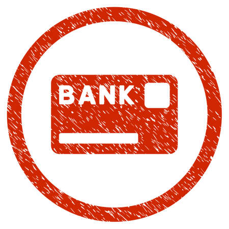 Bank Card grainy textured icon inside circle for overlay watermark stamps. Flat symbol with dirty texture. Circled dotted raster red ink rubber seal stamp with grunge design on a white background.